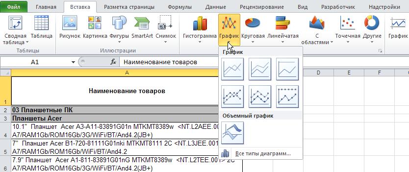 Excel: Лента - Вставка - Диаграммы - График