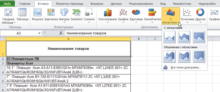 Excel: Лента - Вставка - Диаграммы - С областями