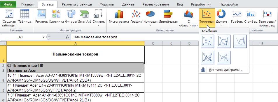 Excel: Лента - Вставка - Диаграммы - Точечная