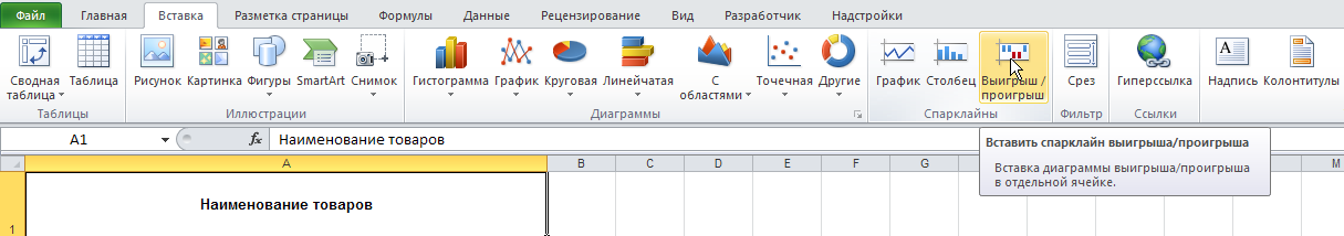Excel: Лента - Вставка Спарклайны - Выигрыш/Проигрыш