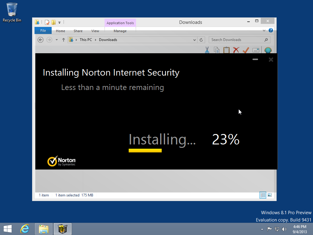 When the Norton Internet Security installation will be completed, press &qu