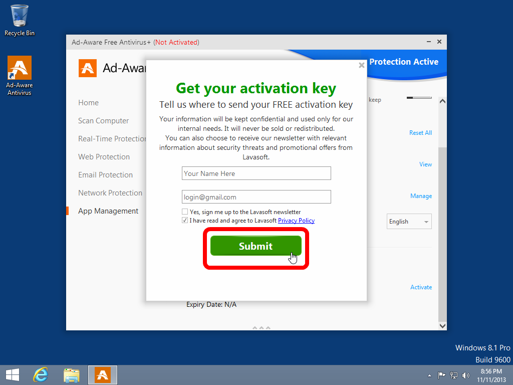 free activation key for lavasoft